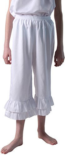 Making Believe Girls/Women's Renaissance Ruffle Bloomers (Girl's Small 6/8, White) -