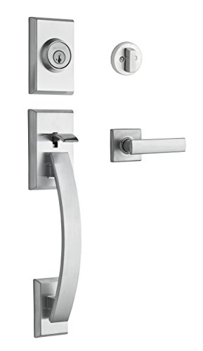 Kwikset Tavaris Single Cylinder Handleset w/Vedani Lever featuring SmartKey in Satin Chrome (Modern Front Door Handle)