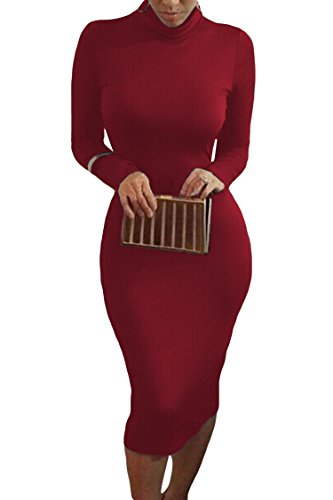 Pink Queen Womens Turtleneck Long Sleeve Knee Length Bodycon Midi Dress S Dark Red