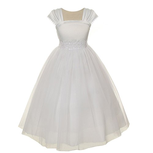 - Kids Dream Little Girls White Satin Mesh Beadwork Flower Girl Dress 2