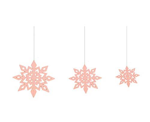 LOLOAJOY Stereoscopic Snowflake Pendant Christmas Tree Decoration Hanging Hexagonal Embellishments with String ()