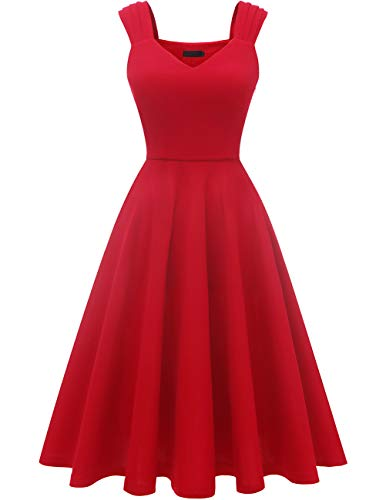 (DRESSTELLS Women's Bridesmaid Vintage Tea Dress V-Neck Prom Party Swing Cocktail Dress Red S)