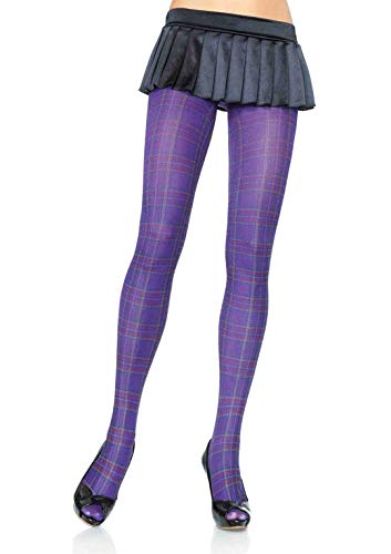 Leg Avenue Women's Opaque Purple Plaid Tights, One Size
