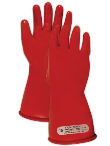 """Magid M00 A.R.C. Natural Latex Rubber Class 00 Insulating Glove with Straight Cuff, Work, 11"""" Length, Size 9.5, Red"""