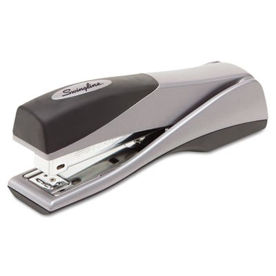 (Swingline Products - Swingline - Optima Grip Full Strip Stapler, 25 Sheet Capacity, Silver - Sold As 1 Each - Ergonomically designed specifically for handheld use. - Boasts 25% greater capacity than other desk staplers. - Jam-free with Swingline S.F. 4 or Optima premium staples. - Stands vertically or sit horizontally. - Sturdy metal construction with soft-feel material.)