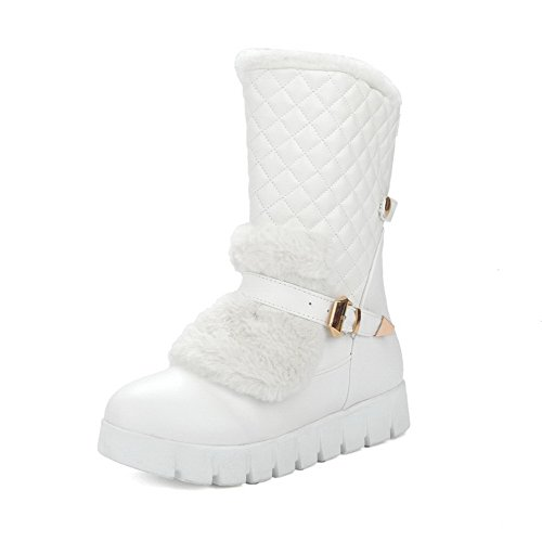 White Pull AmoonyFashion top on Women's Heels Low Toe Boots PU Low Closed Round qFORxnwqU