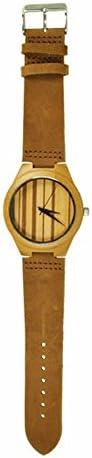 Munixwood Bambus Holzarmbanduhr mit Lederarmband und Uhrenbox Holzuhr Öko