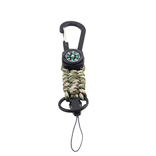 TT-OUTDO Outdoor Multi Tool Handmade 7 Strand Braided Carabiner Compass Key Chain Portable Corrosion Resistant Accessories
