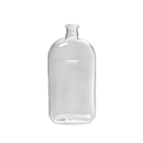 Corning Pyrex 1290-1L Borosilicate Glass Rectangular 1 Liter Roux Culture Bottle with Offset Tooled Neck (Pack of 18)