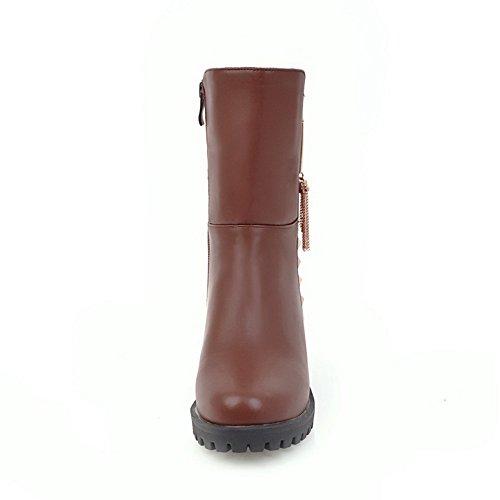 VogueZone009 Damen Rund Zehe Mittler Absatz Eingelegt Stiefel mit Metalldekoration, Braun, 43
