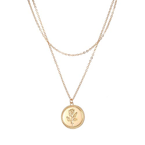 Feximzl 14K Gold Plated Rose Flower Coin Necklace for Women Dainty Handmade Fill Carved Pendant Chain Minimalist Jewelry Mothers Day Jewelry Gift (2 Layer Rose - Flower Carved Pendant Rose