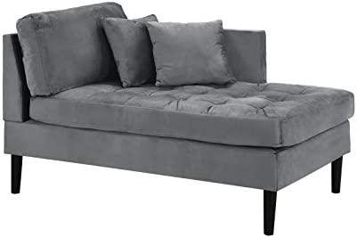 Mid Century Modern Tufted Velvet Chaise Lounge Grey