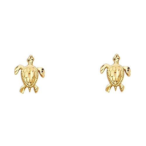 (14k Yellow Gold Turtle Stud Earrings (8 x 10 mm))