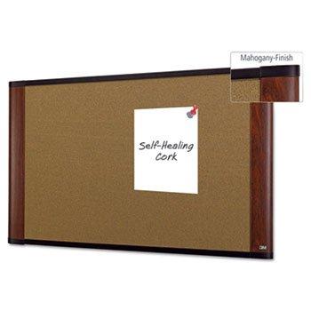 3M Cork Bulletin Board, 36 x 24, Aluminum Frame w/Mahogany Wood Grained ()