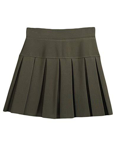 Femmes Mini Courte vase/De Sport/De Danse Taille Haute/Patineuse Fille Jupes Elastique Dcontracte Jupe Arme Verte