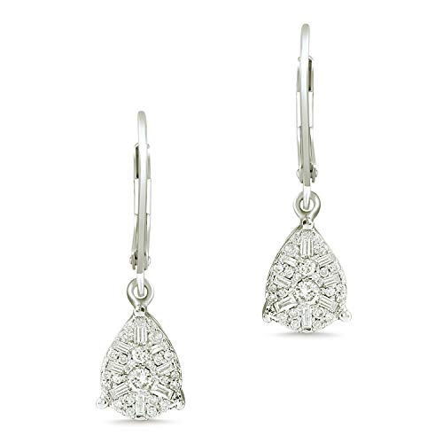 14k White Gold Women Earring 0.48 cttw Round & Baguette cut Diamonds in Compress Setting (SI1-SI2 Clarity, G-H Color)