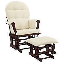 Windsor Glider and Ottoman Cherry Finish and Beige Cushions Cherry Enclosed metal bearings Padded Arms ()