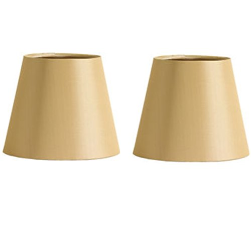 Upgradelights 6 Inch European Drum Style Chandelier Lamp Shades in Antique Gold Color (Set of 2 Shades) 3.5x6x4.5