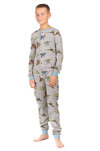 Suit Union Girl - Dinosaur Union Suit Boys & Girls Onesie Pajamas T-Rex on Rear Flap, Kids 4-12