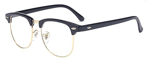 ALWAYSUV Classic Horn Rimmed Half Frame Clear Lens Glasses Black Gold - Retro Horn Rimmed Glasses