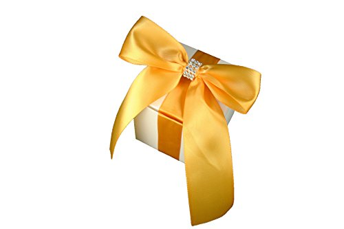 10k Yellow Gold Ribbon - 3X3X3 inch Cube Favor Gift box ( PACK OF 10 ) with Satin Bow Ribbon and Rhinestone Trim Fully Assembled (YELLOW GOLD)