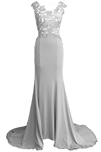 Evening Lace 2017 Party Gown MACloth Formal Silber Long Mermaid Jersey Prom Dress Women AYnTvwqH