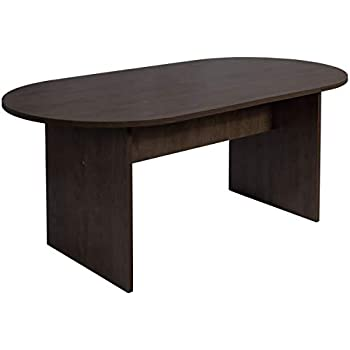 Dark Oak Sunon 41 3 Inch Dia Round Conference Table With X Shaped Wood Panel Small Dining Table Conference Room Tables Tables