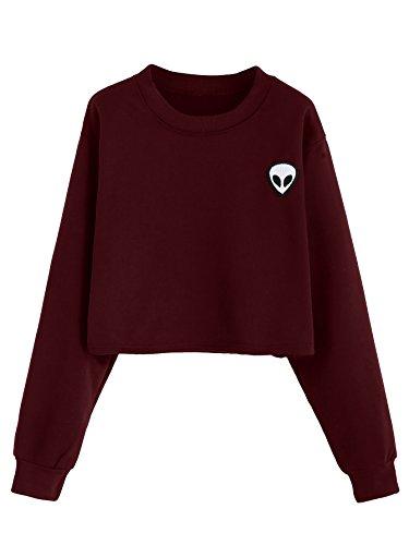 SweatyRocks Women's Crop Top Sweatshirt Hoodie with Alien Patch (Large, Burgundy#1)