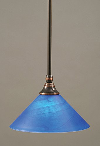Toltec Lighting 23-BC-435 Stem Mini-Pendant Light Black Copper Finish with Blue Italian Glass, 10-Inch