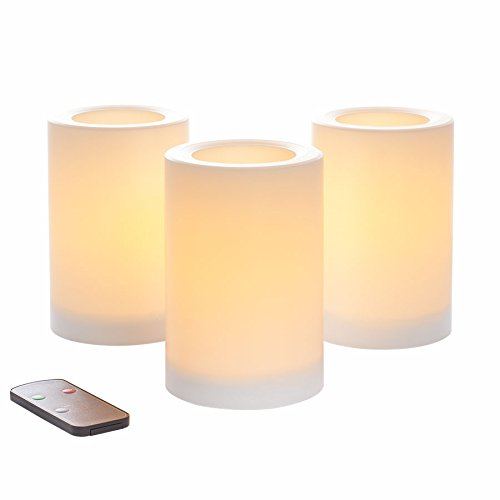 Sterno Home CGT20406WH3R Indoor/Outdoor Pillar Candle with Remote Control and Timer Feature, 4 6-Inch, White, 3-Pack