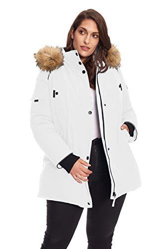 Alpine North Women's Plus Vegan Down Mid Length Parka Jacket with Faux Fur Hood (1X, ()