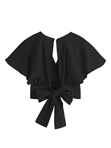 Floerns Women's Summer Cute Short Sleeve Bow Tie Crop Blouse Top Black One - Sleeve Open Short Tie