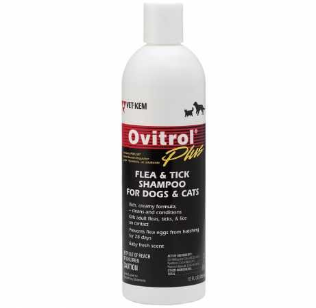 Vet-Kem Ovitrol Plus Flea and Tick Shampoo for Pets, 12-Ounce