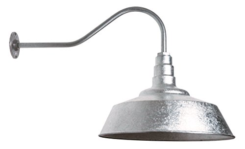 20 inch Standard Steel Dome | 23 inch Gooseneck Barn Light (Galvanized) -