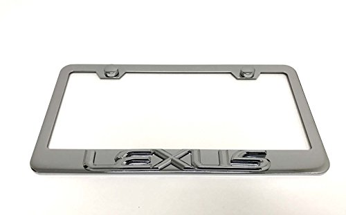 1pc 3D Lexus Emblem Stainless Steel Chrome License Plate Frame Holder with Screw Caps