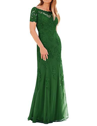Di Tulle Sposa Size Plus Pizzo Sera Abito Da Vestito Madre Verde Formale Della In Del Maniche qTH4PTWwz