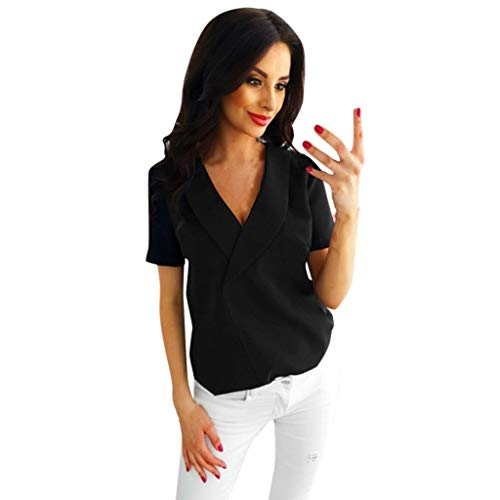 Solid Blouses for Women -【MOHOLL】 Womens V Neck Chiffon Blouse Casual Short Sleeve Blouse Loose Top Shirt Tee Black