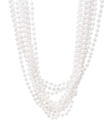 24 Pack Pearl Necklaces For Women - Realistic Looking Fake Pearl Necklace Costume Jewelry - Tea Party Favors & Great Gatsby Party Decorations - Each Necklace Includes 7mm Faux Pearls - Silver Necklace Costume Beads Jewelry
