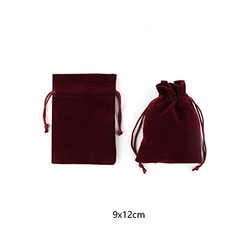 7cm Haodou Cord/ón Bolsas Rojo Oscuro Terciopelo Bolsa de Terciopelo Bolsas Almacenamiento para Navidad Y Boda Joyer/ía Bolsas Size 9