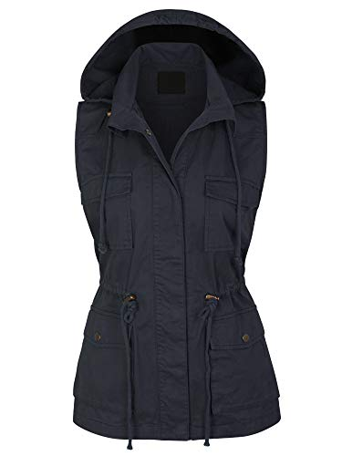 KOGMO Womens Military Anorak Safari Utility Vest with Hood-M-Navy
