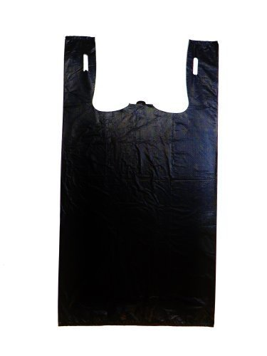 Plastic Bag-Black Plain Embossed T-Shirt Bag 11.5