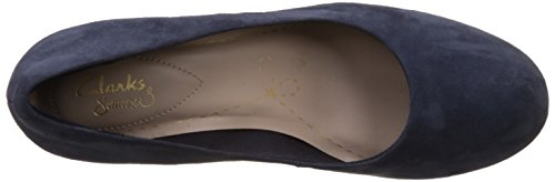 Clarks Donna Tacco Corte Scarpe Orzo Rosa Navy Suede