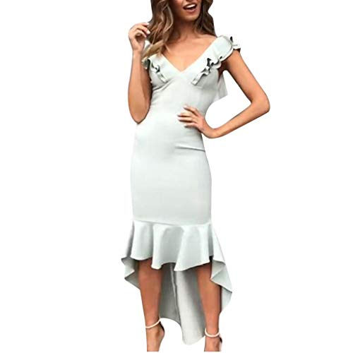 Solid V-Neck Color Sleeveless Dinner Evening Party Ruffle Dress ()
