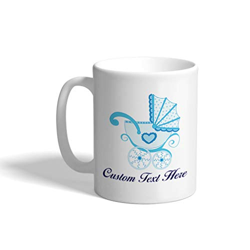 Custom Funny Coffee Mug Coffee Cup Baby Buggy Blue White Ceramic Tea Cup 11 OZ Personalized Text - Ceramic Baby Buggy