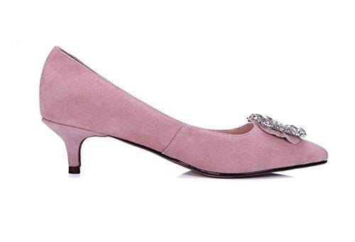 PINK de Tacón de Diamante Zapatos de 41 Fino para con Zapatos Mujer Diamantes XIE de 41 Tacón Pink Tacón Tgwq77x0