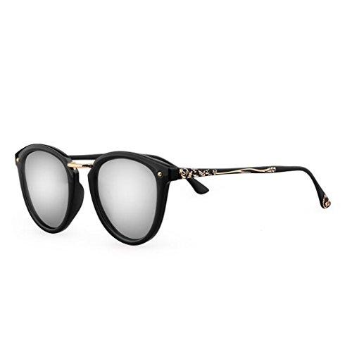 sol Estrella de ser gafas gafas de cara pueden Personalidad gafas sol gafas con UV redondas Nuevas femeninas de sol las párrafo sol de de Silver sol D Black femenina Polarizer de Frame; gafas Gafas moda Marea equipadas con OBwZq5YzA