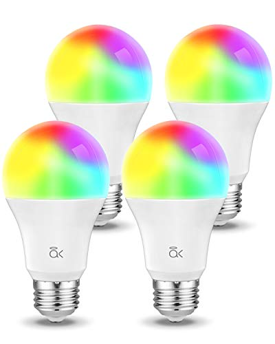Smart Light Bulb, Works with Alexa, Echo, Google Home and Siri, AL Above Lights Dimmable E26 9W Wi-Fi LED Smart Bulb, Soft White (2700K), 60W Equivalent, 810 LM, RGB+W, ETL Listed - 4 Packs