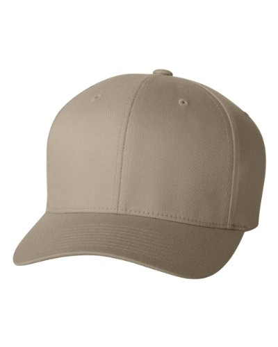 Flexfit Men's Athletic Baseball Fitted Cap, Khaki, Small/Medium -