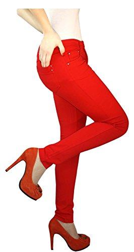 Pantalones vaqueros Jegging treggings Skinny Pantalones Pantalones de cadera Tubo Pantalón Rojo
