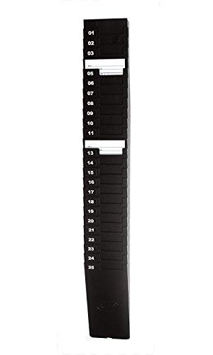 "Lathem Expanding Time Card Rack for 7"" Cards, 25 Pockets, Black Plastic, Mounting Hardware (25-7EX)"